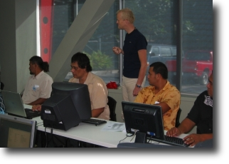 Students in the PacNOG2 Routing Workshop with Phillip Smith instructing
