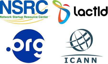Logos de los auspiciadores del evento de Gestion de Redes, 7-8 Julio 2020. Logos incluyen NSRC, LACTLD, .ORG y ICANN