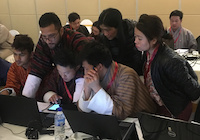 Students working on a lab in the Linux System Administration workshop at SANOG 33 held in Thimphu, Bhutan